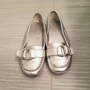 Woman's Silver Leather Buckle Loafers size 7
